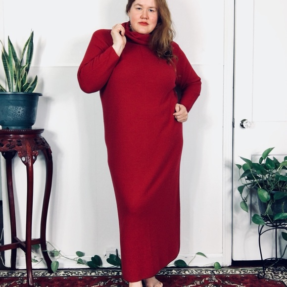 Dresses Vintage Plus Size Red Sweater Dress W Cowl Neck Poshmark